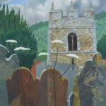 "Shropshire Church. Oil on canvas. 26"" x 26"". Framed."