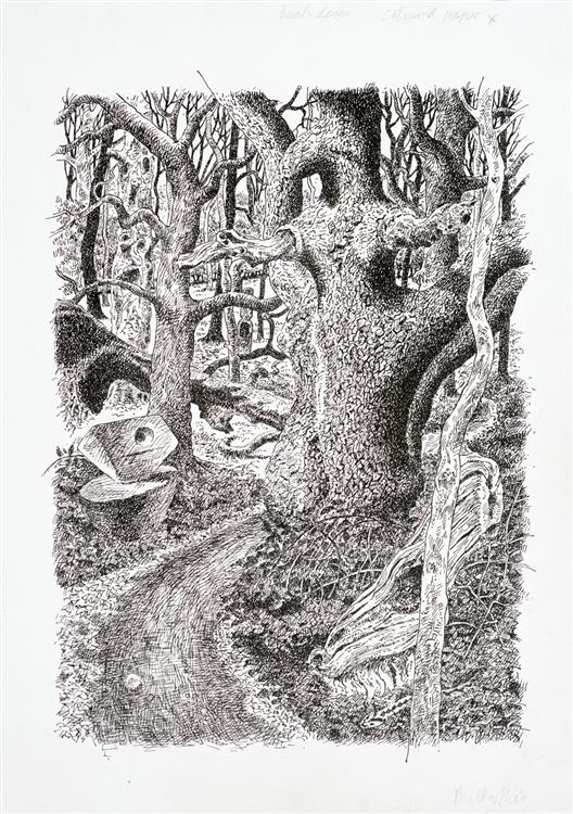 Path Through the Woods, pen and ink. SOLD