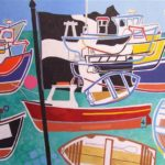 "Pothleven Boats Oil on canvas 22"" x 39"" SOLD"