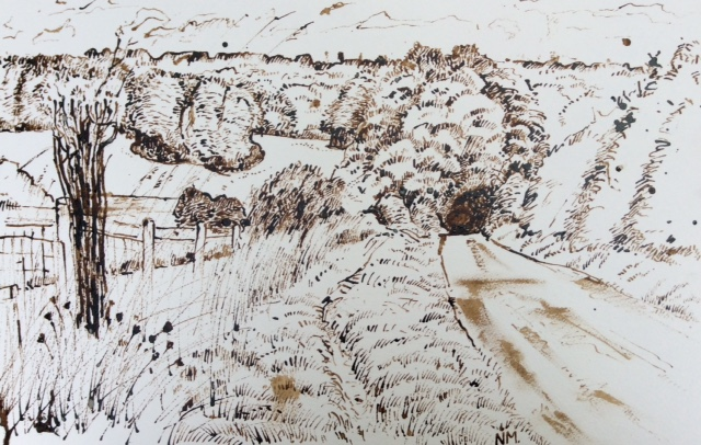 """To the Village, reed pen and ink, framed, 18"""" x 26""""."""