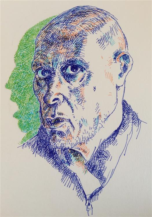 """Self-Portrait with Shadow, coloured pens on paper, 9"""" x 13"""", framed."""
