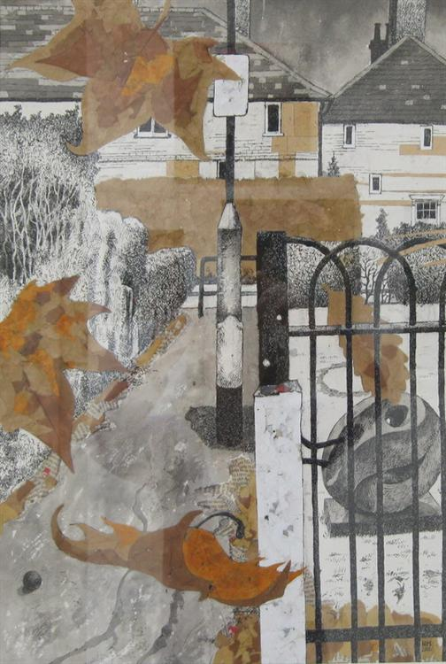 """Pathway, mixed media, 29"""" x 21"""", framed. SOLD"""