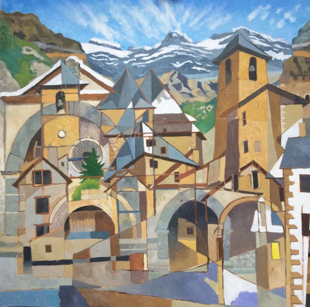 """Spanish Town, oil on board, 24"""" x 24""""."""