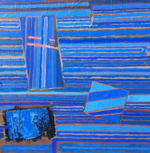 Blue Abstract, oil on board. SOLD