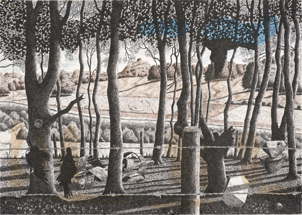 Through the Trees, pen and ink.