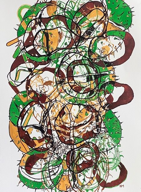"""Falling Conkers, brush and ink, 11"""" x 15"""""""