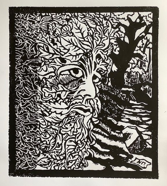 """Green Man, woodcut, 16"""" x 18"""", to be editioned."""