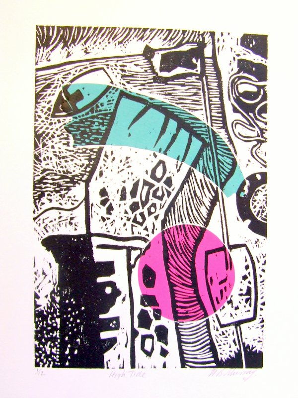 Hightide, woodcut and collge. NFS