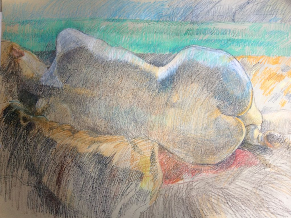 Reclining Figure Charcoal and conte