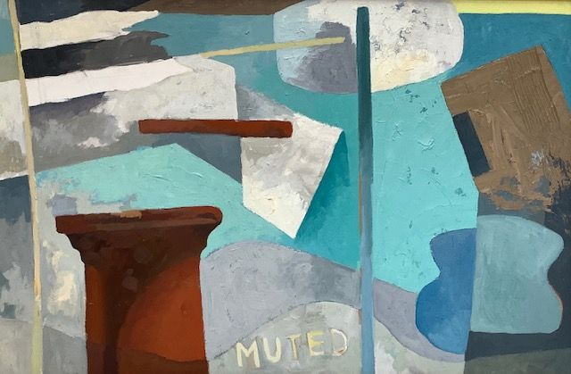 """Muted, oil on board, framed, 27"""" x 37"""""""