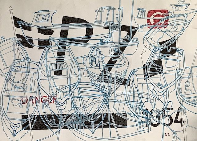 """PZ 1954, brush and pen and ink, 15"""" x 21"""""""
