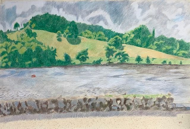 "River Dart, coloured pencils on paper, 15"" x 22"""
