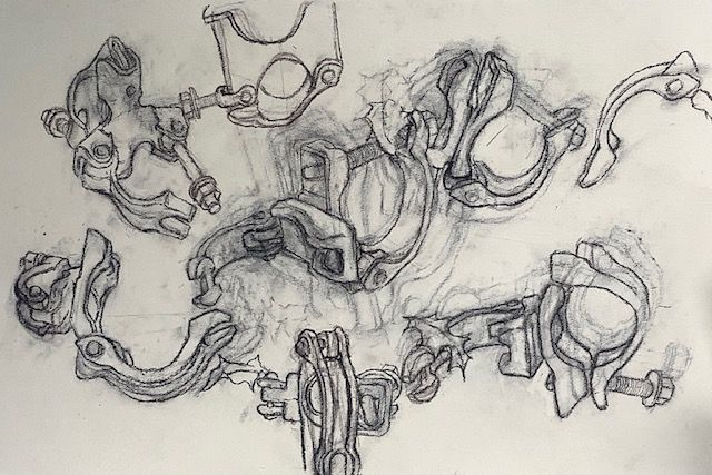 """Scaffolding Clamps, charcoal, 15 x 22"""""""