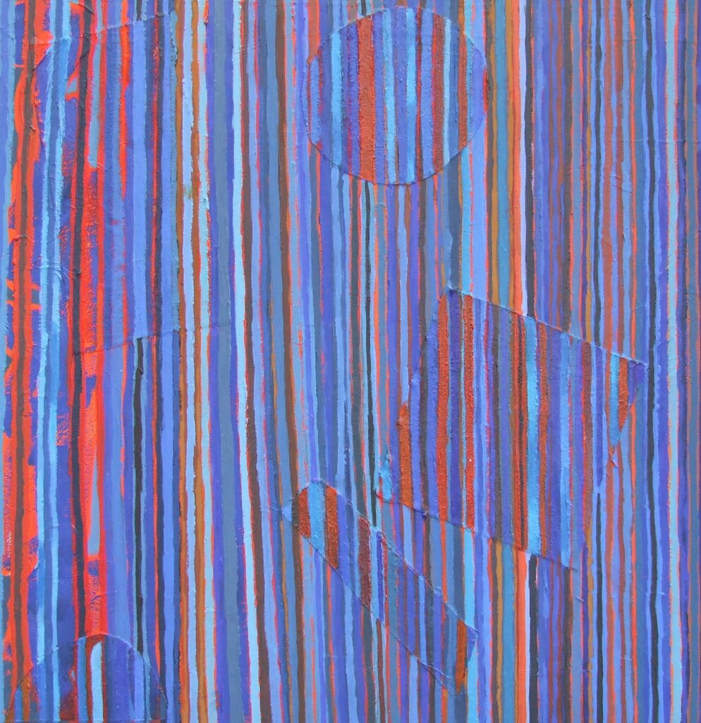 """Vertical Stripes. oil on canvas, oil and collage, 24"""" x 24""""."""