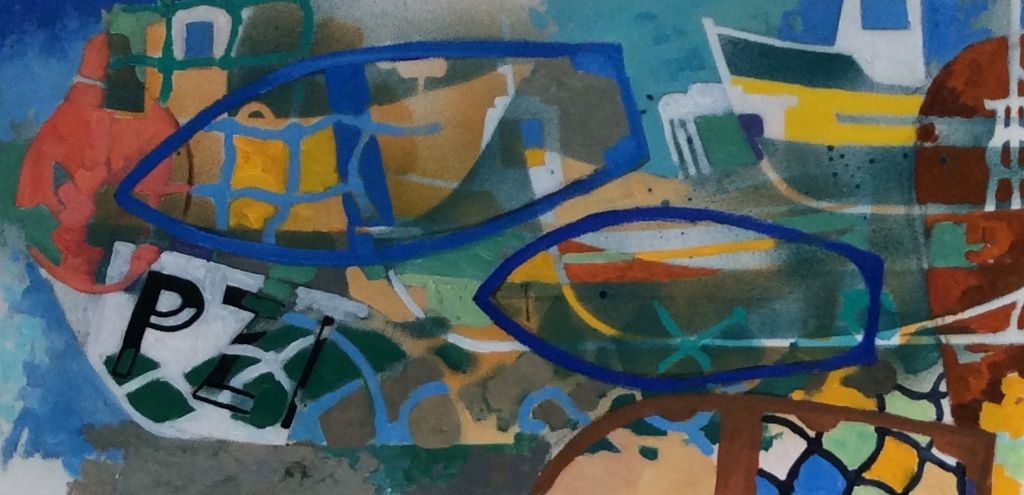 """Boats and Nets,, oil on canvas, 12"""" x 24"""""""