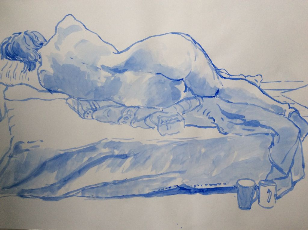 """Reclining Figure (blue), brush and ink on paper, 17"""" x 23"""""""