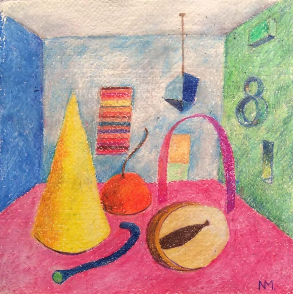 "Strange Forms, oil pastels on paper, 8.5"" x 8.5"""